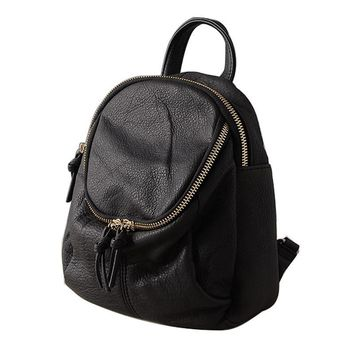 Lady 100% Genuine Leather Buckets Style Backpacks