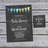 Baby Shower Invitations for Boys Baby Shower Invitation Boy Printable Baby Shower Invites Boy (V20) - Free Thank You Tags - Instant Download