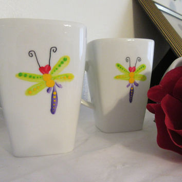 Hand Painted Coffee Cups Mugs - Dragonfly Design - Unique One of a Kind - Great Gift Idea for the Dragonfly Collector - Set of 4