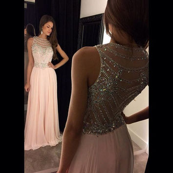 Prom Dresses 2016 O Neck Sleeveless Beaded Crystal A Line Chiffon Custom made New Popular Party Homecoming Dresses