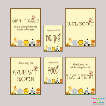 Printable Safari Baby Shower Table Signs - SIX Signs! Welcome Sign, Favors Sign, etc- Instant Download - Safari Baby Shower Decor - BS0001-N