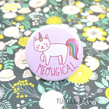 Turtle's Soup - Meowgical Cat Unicorn Pinback Button