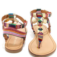 Madden Girl Faaye Bright Multi and Gold Thong Sandals