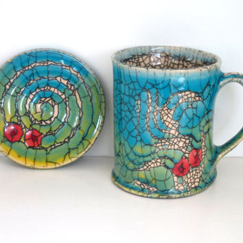 Handmade set of ceramic mug and coaster/ Rupert Andrews mug/ Ceramic mug/Ceramics and pottery/Unique crackle glaze /Abstract mug/Tea mug