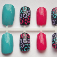Teal, Pink, and Purple Cheetah or Leopard Fake Nails - False, Artificial, Acrylic, Press-On