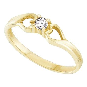10kt Yellow Gold Women's Round Diamond Solitaire Heart Promise Bridal Ring 1/10 Cttw - FREE Shipping (US/CAN)