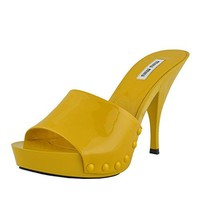 Miu Miu Women's Leather Yellow Open Toe High Heels Shoes