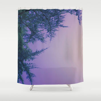 Lavender Skies, Green Trees Shower Curtain by DuckyB (Brandi)