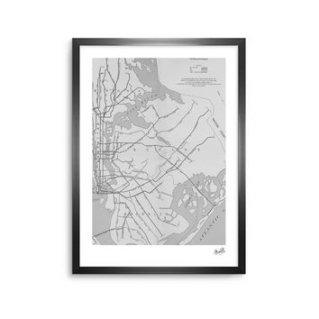 New York Map - Black White Urban Digital Framed Art Print