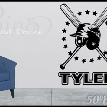 Large Baseball Design Cross Bat And Helmet Custom Name Wall Art Decal Vinyl Sticker Home