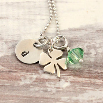 Irish necklace sterling silver - stamped initial pendant - Shamrock charm - green Swarovski crystal - four leaf clover - tiny bits
