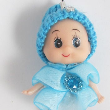 "Child Adorable Ornament Turquoise Hat and Dress with Jewels 3"" x 2"""