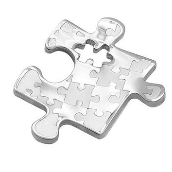 Autism Awareness Small Puzzle Design Stainless Steel Pendant