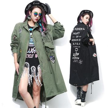 Army Green Long Trench Coat with Rivet and Patch Designs