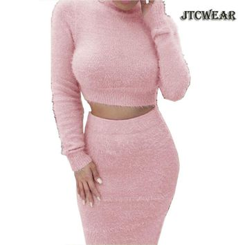 JTCWEAR Winter Autumn Hairy Sweater Woman 2 Pieces Set Crop Top Long Sleeve Sweater Knitted Plush Warm Sweater Top and Skirt