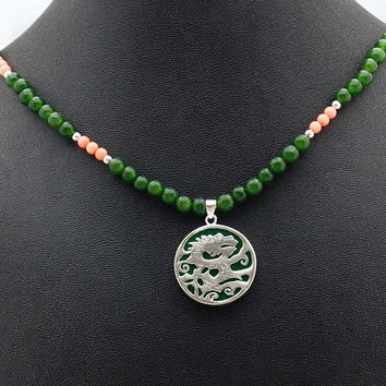 Jade and Silver Dragon Pendant & Jade and Coral Handmade Gemstone Necklace  Chinese Dragon Necklace