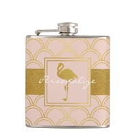 Flamingo Pink and Faux Gold Retro Pattern Modern Flask