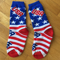 USA Tacky 80s Athletic Socks Red White & Blue Fourth of July Hipster Socks Patriotic Sport Socks Stars Stripes Independence Day Americana