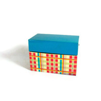 Plaid Recipe Box Metal Red Blue Plaids Country Kitchen by Ohio Art Company