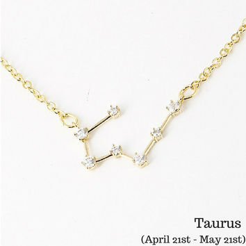 Taurus Constellation Zodiac Necklace (04/21-05/21) - As seen in Real Simple, People & more
