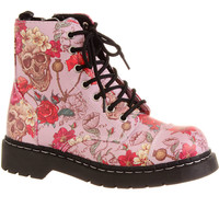 Mortal Beauty Skull & Rose Combat Boots
