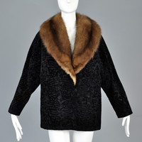 Bill Blass Broadtail Printed Velvet Jacket with Sable Collar
