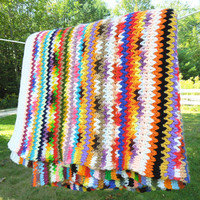 """Vintage crochet blanket afghan throw in colorful zig-zag striped pattern - Thick and heavy 75"""" x 68"""""""