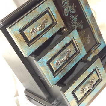 HaND PAiNTED LARGE vintage UP-CYCLED Black, Turquoise & Gold wooden 3 drawer Jewellery Wardrobe. Jewellery Armoire. Jewellery Cabinet or Box