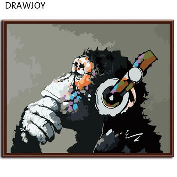DRAWJOY New Home Decor Framed Pictures Painting By Numbers DIY Digital Oil Painting On Canvas Wall Art Abstract Monkey G178