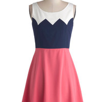 ModCloth Colorblocking Short Tank top (2 thick straps) A-line Aglow and Behold Dress