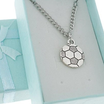 Soccer charm pendant in Tierracast silver pewter on stainless steel chain. Boy's necklace. Boys necklace. Boys jewelry. Soccer Mom.