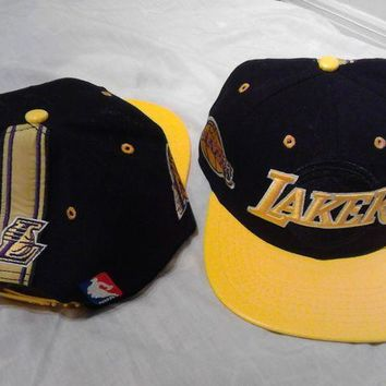 ONETOW Los Angeles Lakers NBA Adidas Snapback Hat Cap Black Leather Brim