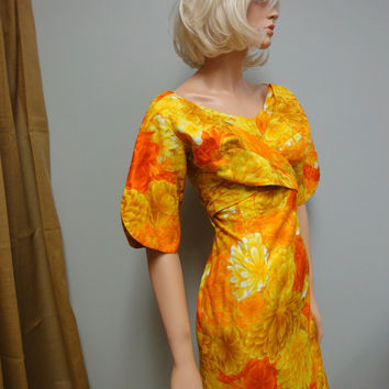 Vintage 60s Hawaiian Dress, Paradise Hawaii, Wiggle Dress, Sunshine Yellow, Tangerine Holomu'u
