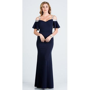 Bell Sleeve Cold Shoulder Strap Long Semi Formal Dress Navy Blue