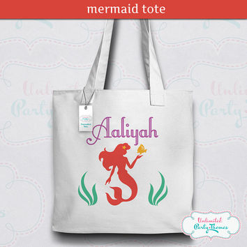 Mermaid Tote Bag / Mermaid Canvas Tote / Personalized Tote Bag
