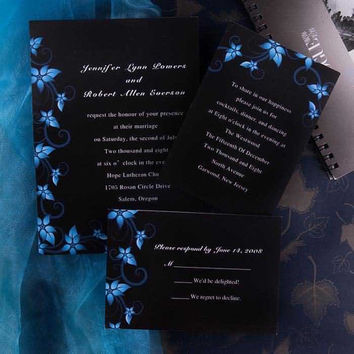 Modern Black and Blue Wedding Invitations - Blue Damask Wedding Invite - Rustic Wedding Theme Card With Free RSVP Cards And Envelope EWI037