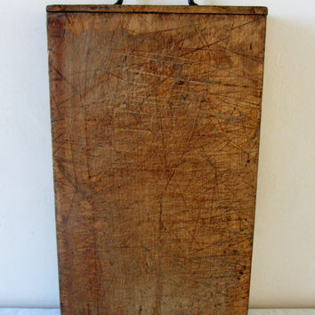 Antique French Chopping Hardwood Cutting Board