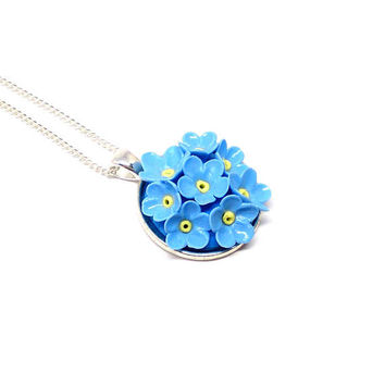 Forget me not round flower pendant, floral necklace, polymer clay jewerly, blue floral jewerly, silver plated