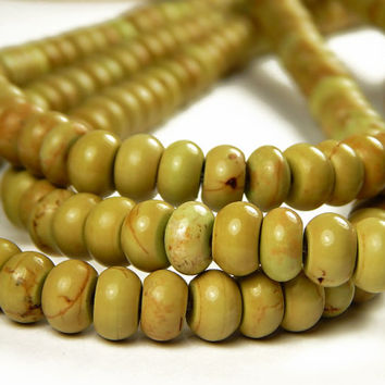 15 Inch Strand - 8x5mm Natural Khaki Jade Rondelle Beads - Gemstone Beads - Rondelle Beads - Jewelry Supplies