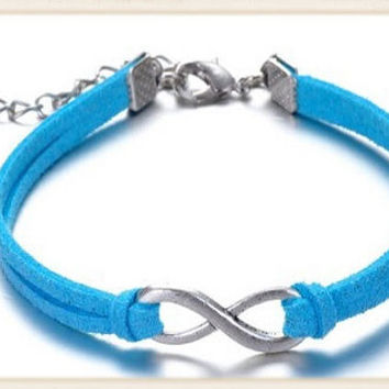 Friendship bracelet, Infinity charm bracelet, blue cord braided bracelet, adjustable rope jewelry for your BFF