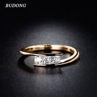 Rings BUDONG 2017 Fashion Women Finger Gold-Color His and Hers Promise Ring Engagement Midi ring Vintage Fine Jewelry XUR079