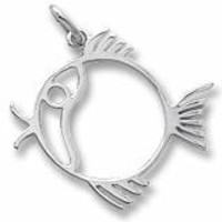 Fish Charm In Sterling Silver