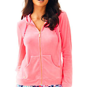 Larina Solid Velour Zip Up Hoodie | 27102 | Lilly Pulitzer