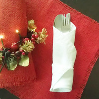 Christmas Placemat - Red Burlap Placemat - place setting - table setting - Set of 4 - table decoration