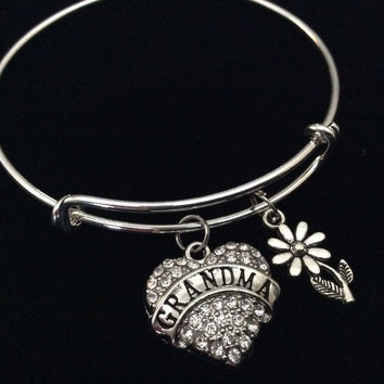 Grandma Crystal Heart Silver Charm Bracelet Adjustable Wire Bangle Expandable