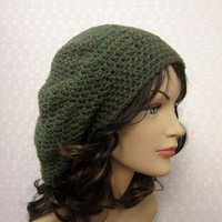Green Heather Slouchy Crochet Hat - Womens Slouch Beret - Ladies Tam - Fall Winter Fashion Accessories