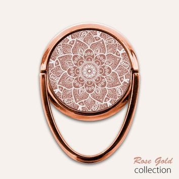 Rose Gold Mandala Phone Ring Finger Holder Mount Stand Grips