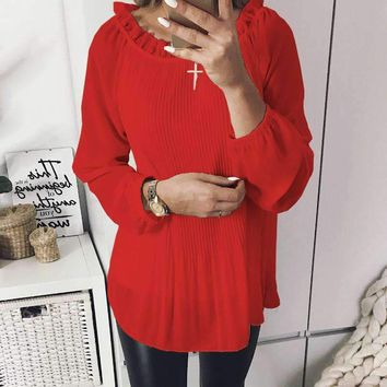 Chiffon Blouses 2018 Femme Women Tops Ruffles Long Sleeve Blusas Autumn Spring Women Ruffled Neck Shirts Blusas Plus Size GV385