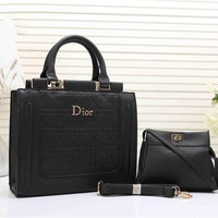 Dior Women's Leather Handbag Tote Satchel Shoulder Bag Two piece Set H-YJBD-2H
