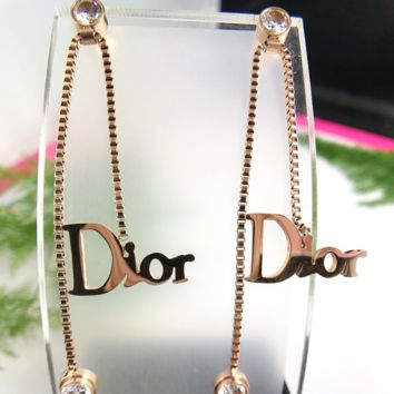 Dior Fashion new letter diamond personality women simple long earrings Rose gold